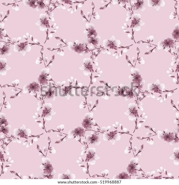 Seamless pattern small pink flowers and branches on a pink background. Floral background. Watercolor