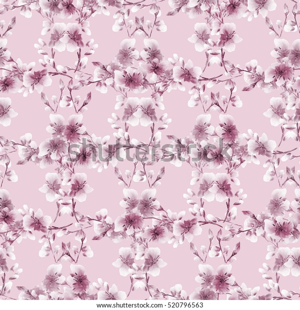 Seamless pattern small pink flowers and branches on a pink background. Floral background. Watercolor - 1