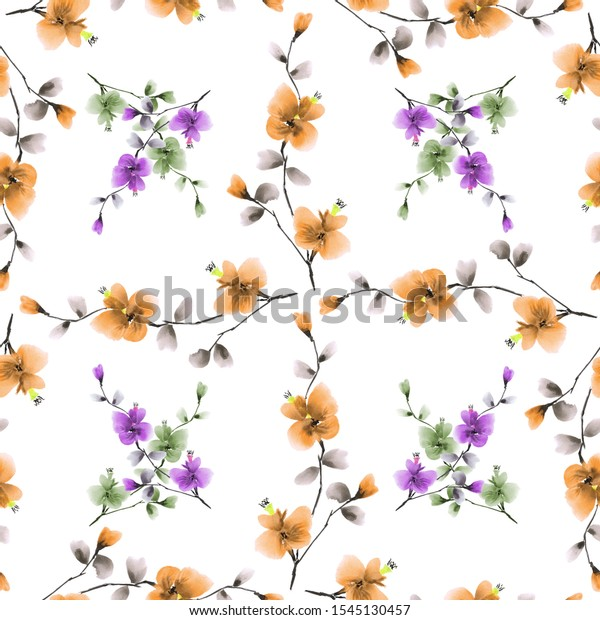 Seamless pattern small pink and green  flowers and orange branches on a white background. Watercolor -5
