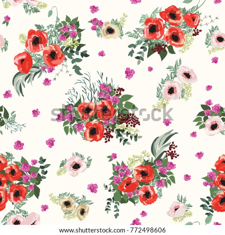 Royalty free stock illustration of seamless pattern small pretty seamless pattern in small pretty flowers poppy bouquets liberty style millefleurs floral background mightylinksfo
