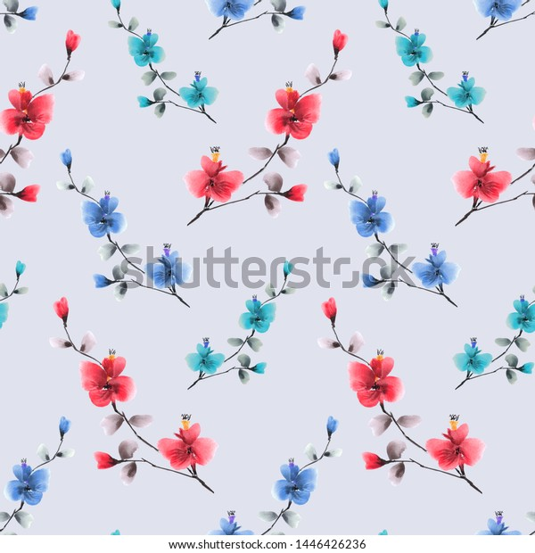 Seamless pattern of small red and blue flowers on the violet background. Watercolor -4