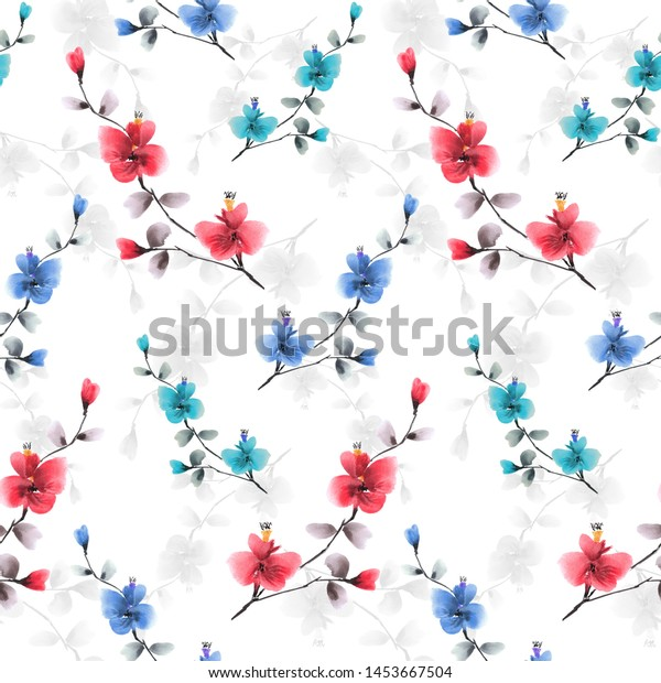 Seamless pattern small red, blue and gray flowers on a white background. Watercolor -5