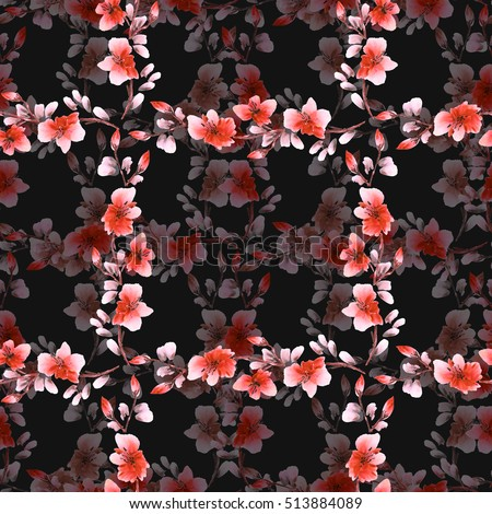 Seamless pattern small red flowers and cell on the black background. Floral background. Watercolor