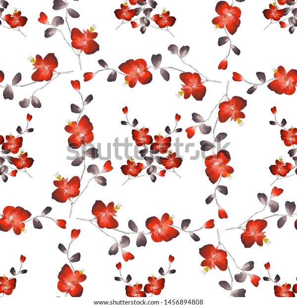 Seamless pattern small red flowers and branchs on a white background. Watercolor -5