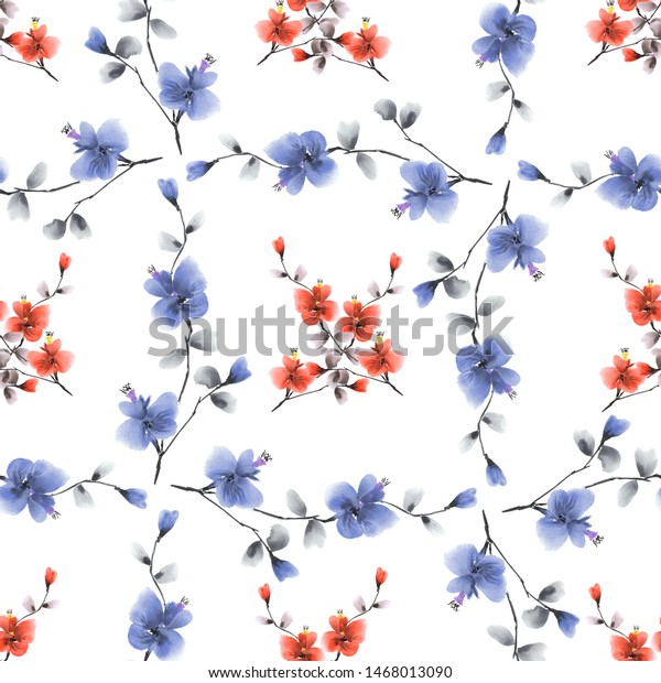 Seamless pattern small red flowers and blue branches on the white background. Watercolor -5