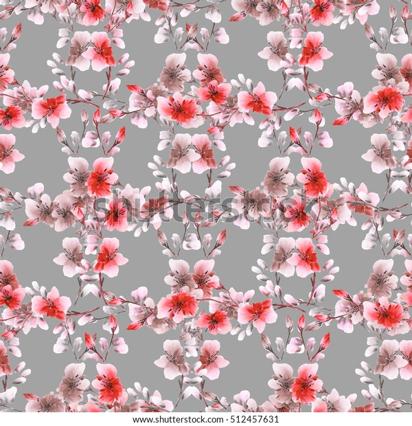 Seamless pattern small red flowers and branches on the gray background. Floral background. Watercolor