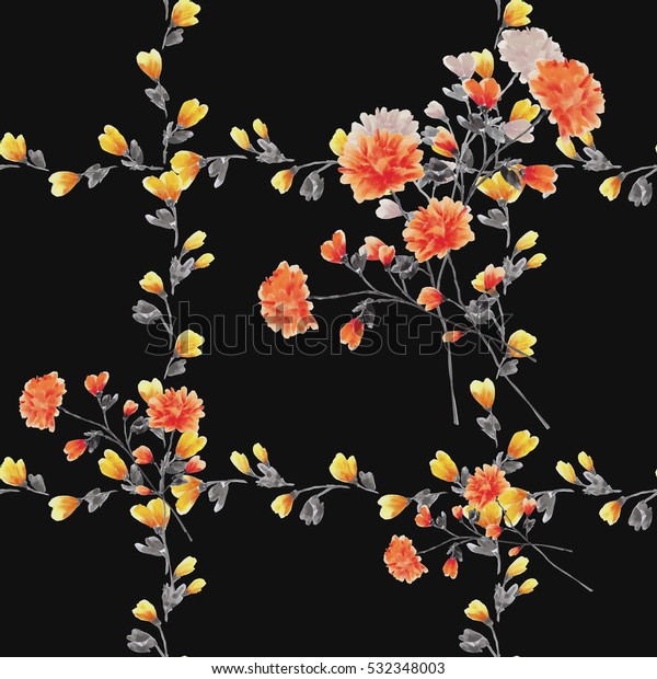 Seamless pattern small red flowers and bouquets and yellow branches on a black background. Watercolor