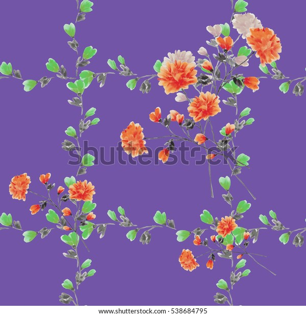 Seamless pattern small red flowers and bouquets and green branches on a violet background. Watercolor