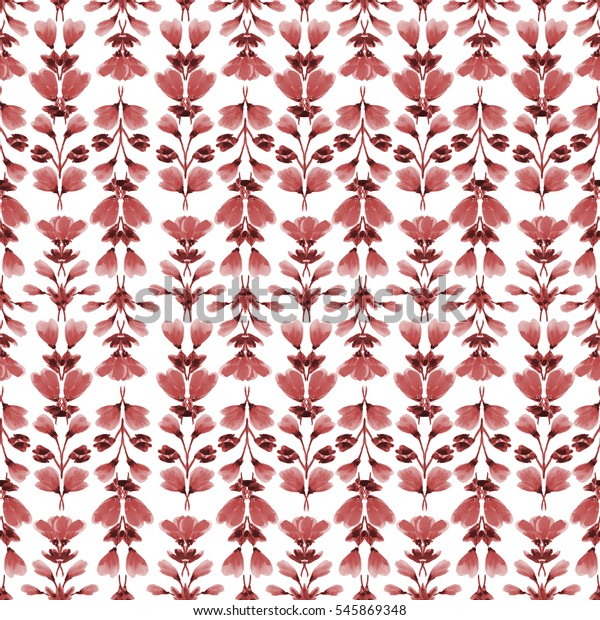 Seamless pattern small red flowers and branches on a white background. Floral background. Watercolor