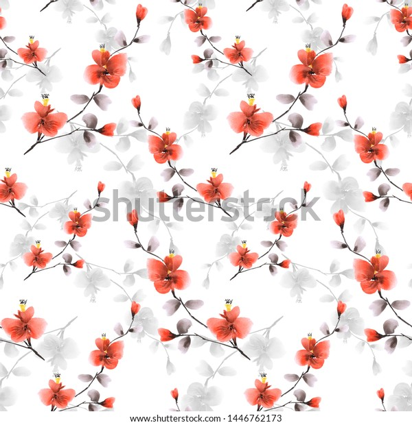 Seamless pattern of small red and gray flowers on the white background. Watercolor -3