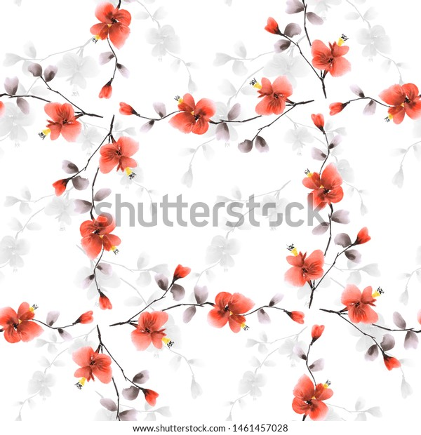 Seamless pattern small red and gray flowers and branches on a white background. Watercolor -5