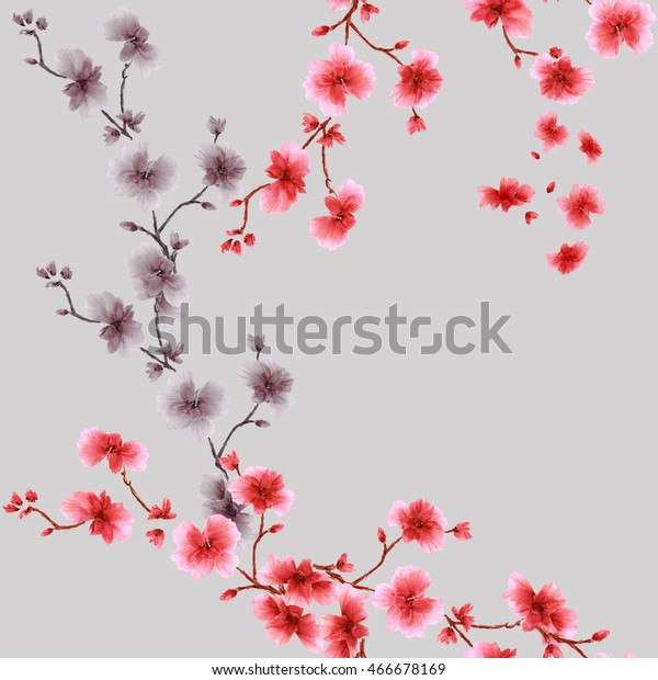 Seamless pattern small red and gray  flowers on the gray background. Watercolor.