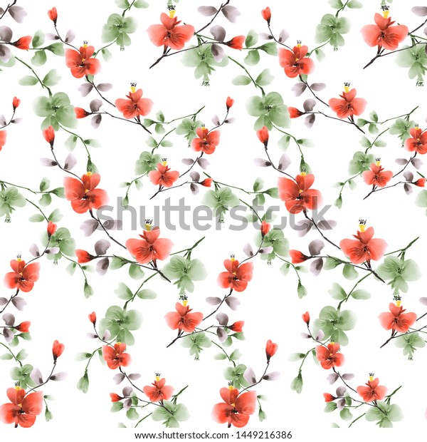 Seamless pattern small red and green flowers on a white background. Watercolor -4