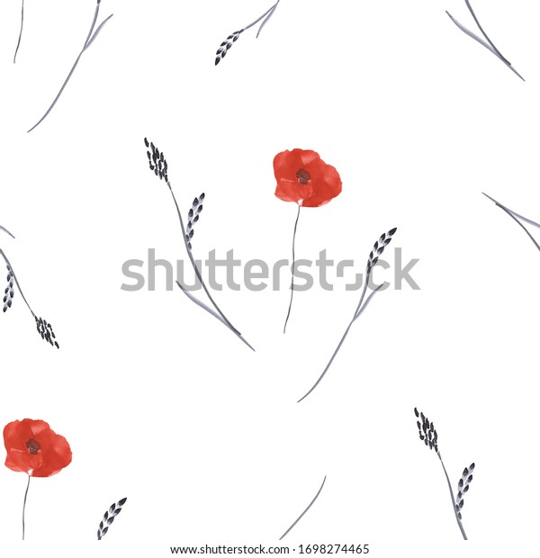 Seamless pattern small, spring red flowers with gray branch on a white background. Watercolor
