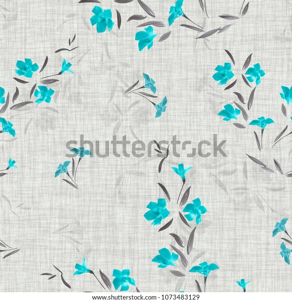 Seamless pattern of small turquoise flowers on a light gray linen background. Watercolor
