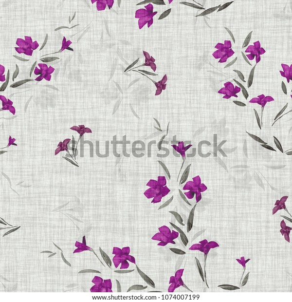 Seamless pattern of small violet  and gray flowers on a light gray linen background. Watercolor