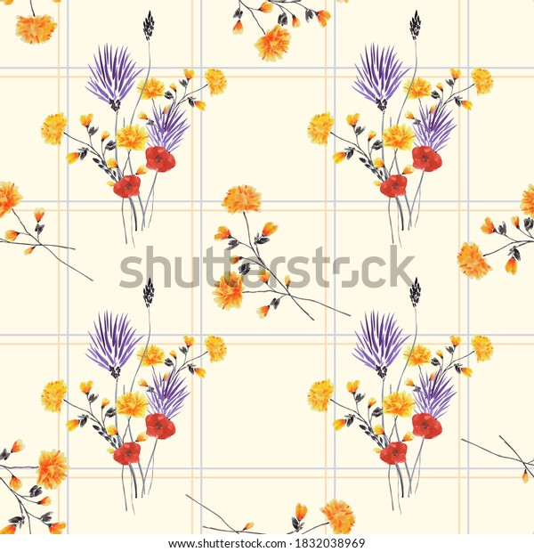 Seamless pattern of small violet, yellow and red flowers in a blue and orange cell on a yellow background. Watercolor