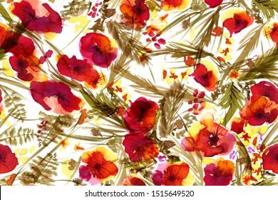 Patrón sin inconvenientes con flores y hojas de color agua pequeñas - fondo abstracto floral rosa, naranja y verde en acuarela vintada