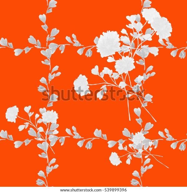 Seamless pattern small white flowers and ligh gray bouquets and yellow branches on a red background. Watercolor