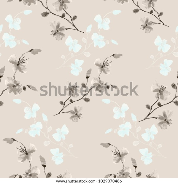 Seamless pattern small wild beige and blue flowers on a light beige background. Watercolor.