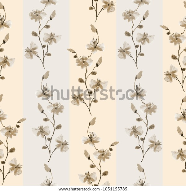 Seamless pattern small wild beige  branchs of flowers with grey strips on a light beige background. Watercolor