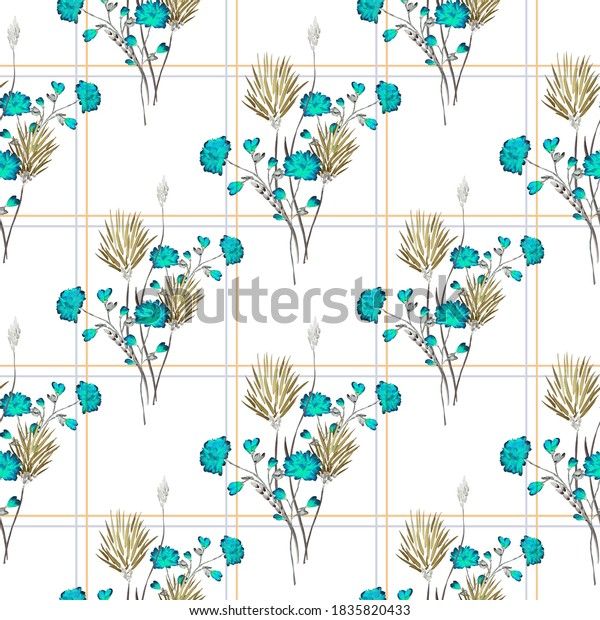 Seamless pattern of small, wild beige and blue flowers in a yellow cell on a white background. Watercolor