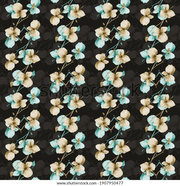 Seamless pattern small wild beige and green branchs of flowers on a black background. Watercolor