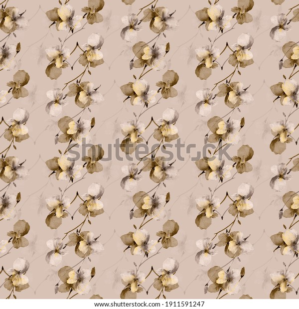 Seamless pattern small wild beige and gray branchs of flowers on a deep beige background. Watercolor
