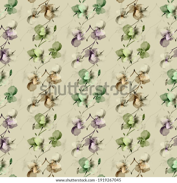 Seamless pattern small wild beige, green and violet branchs of flowers on a deep green background. Watercolor