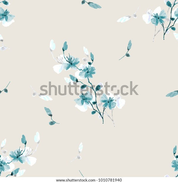 Seamless pattern small wild blue  flowers on a beige background. Watercolor.