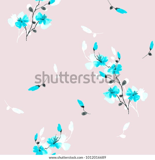 Seamless pattern small wild blue flowers on a pink background. Watercolor.