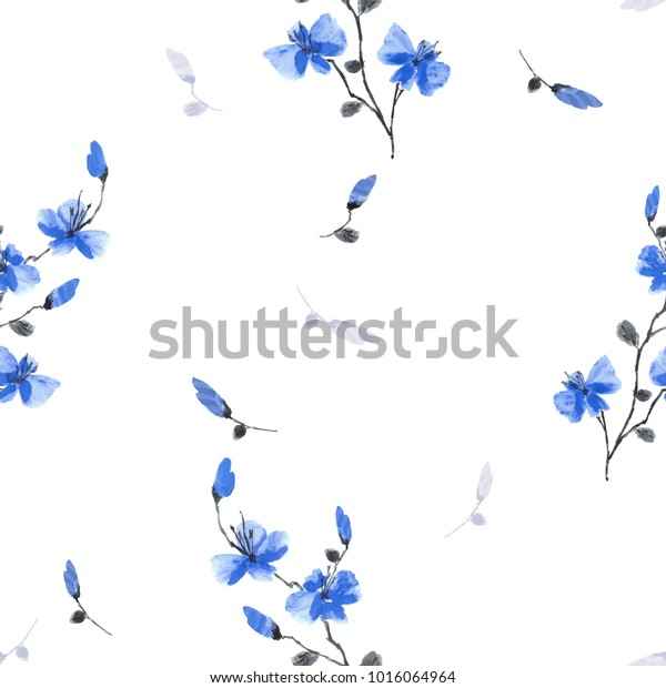 Seamless pattern small wild blue flowers on a white background. Watercolor