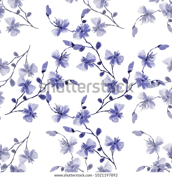 Seamless pattern small wild blue flowers on a white background. Watercolor -1