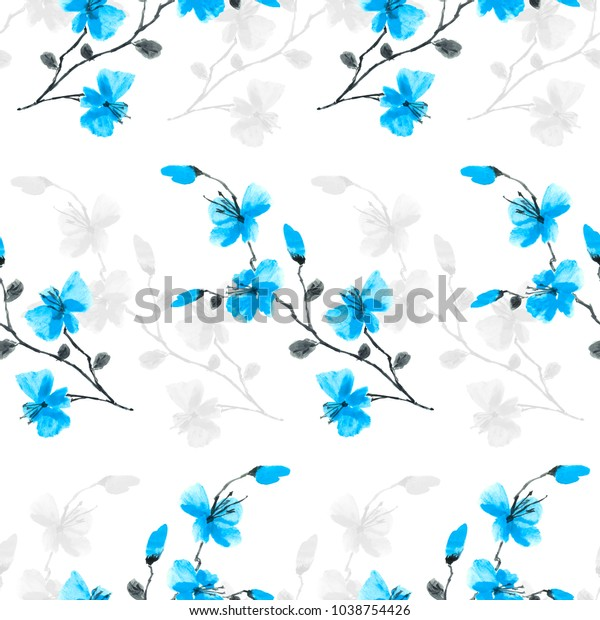 Seamless pattern small wild blue flowers on a white background. Watercolor -A