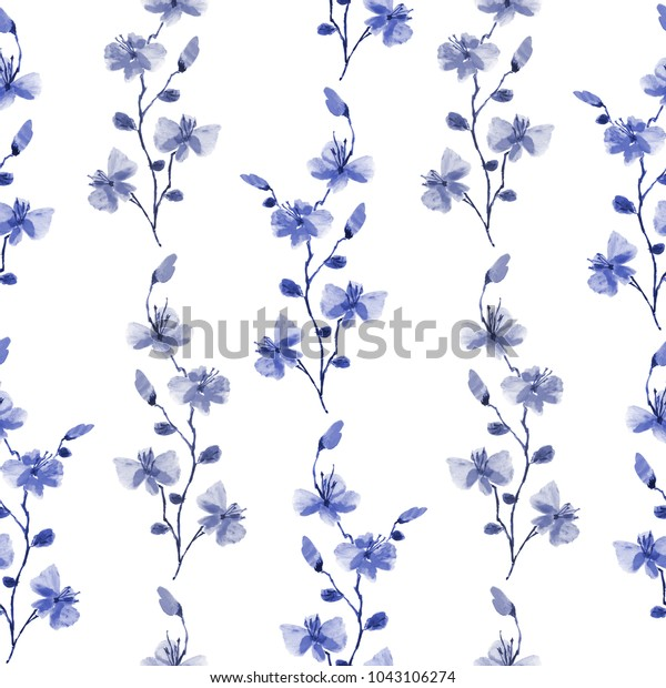 Seamless pattern small wild blue and gray branchs of flowers on a white background. Watercolor