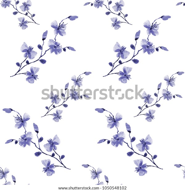 Seamless pattern small wild blue flowers on the white background. Watercolor -A