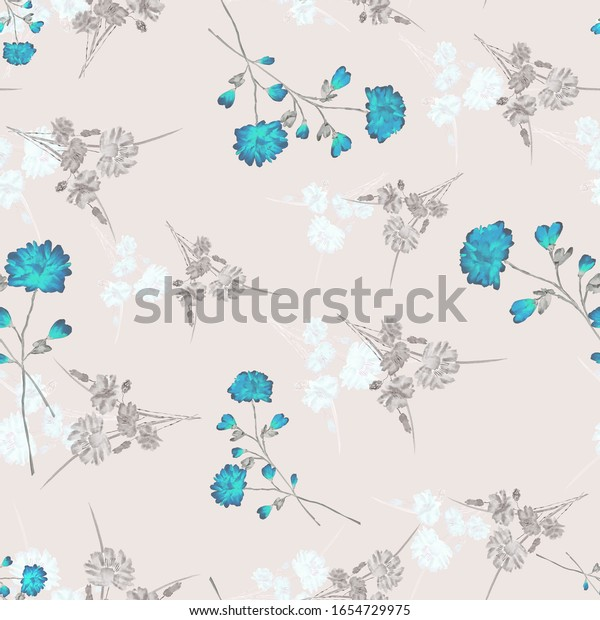 Seamless pattern of small, wild blue and beige flowers on a pink background. Watercolor