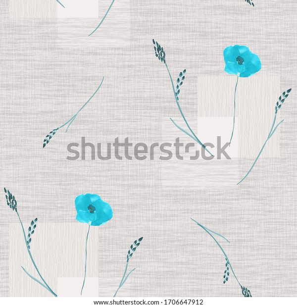 Seamless pattern of small, wild blue flowers on a beige background with squares. Watercolor