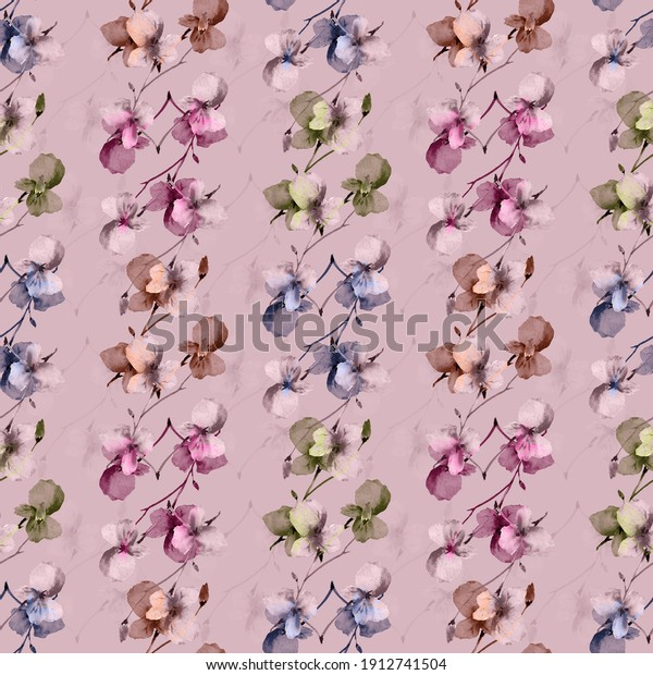 Seamless pattern small wild pink? blue and beige  branchs of flowers on a dark pink background. Watercolor