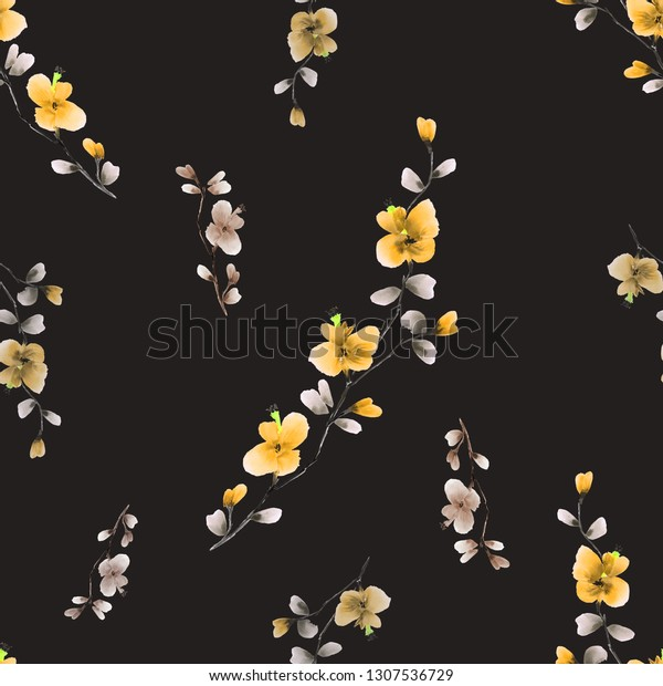Seamless pattern small wild branch with yellow and beige flowers on the black background. Watercolor