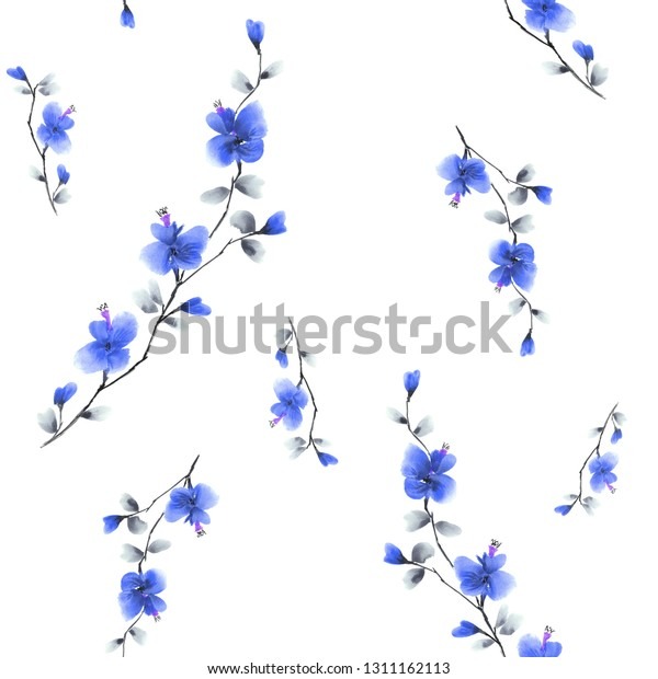 Seamless pattern small wild branch with blue flowers on a white background. Watercolor