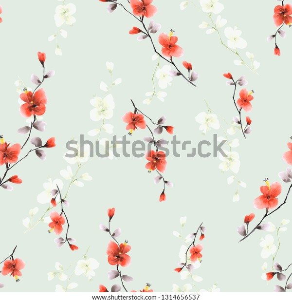 Seamless pattern small wild branch with red and white flowers on a light green background. Watercolor