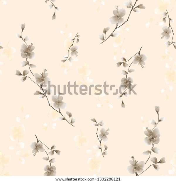 Seamless pattern small wild branch with beige and yellow flowers on a light beige background. Watercolor