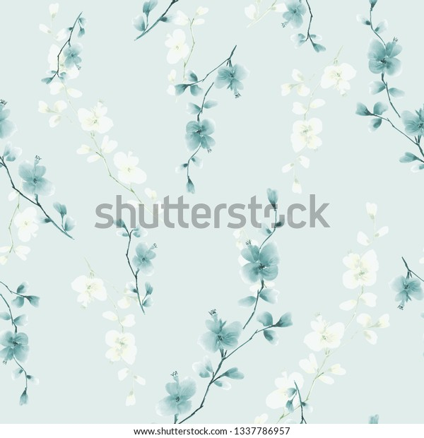Seamless pattern small wild branch with blue and white flowers on a light blue background. Watercolor