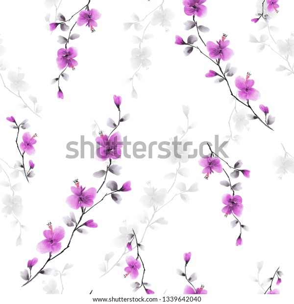Seamless pattern small wild branch with pink flowers on a white background. Watercolor