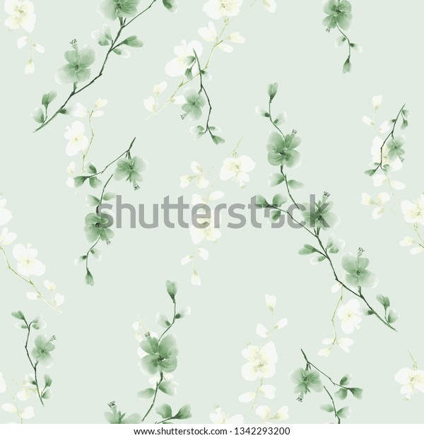 Seamless pattern small wild branch with green and white flowers on a light green background. Watercolor
