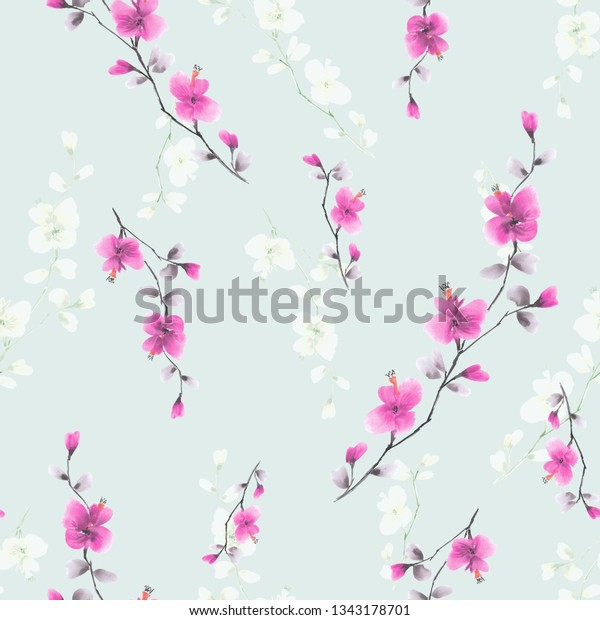 Seamless pattern small wild branch with pink flowers on a light blue background. Watercolor