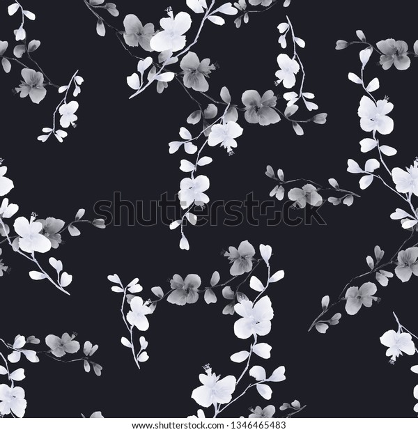 Seamless pattern small wild branch with white and gray flowers on the black background. Watercolor