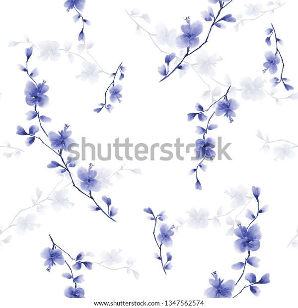 Seamless pattern small wild branch with blue flowers on a white background. Watercolor - 1