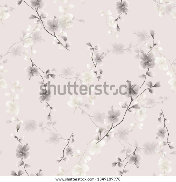 Seamless pattern small wild branch with gray flowers on a light pink background. Watercolor